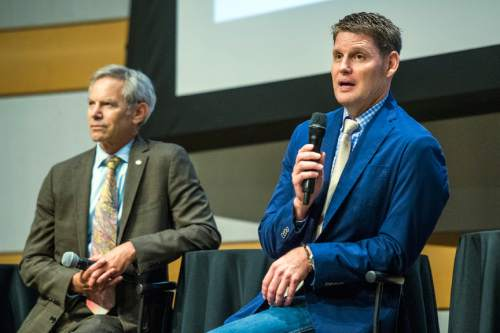 Chris Detrick  |  The Salt Lake Tribune Businessman Dave Robinson speaks during a Salt Lake City Mayoral Debate at Salt Lake City's Main Library Thursday July 16, 2015.