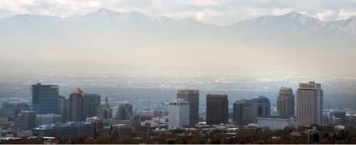 Steve Griffin  |  The Salt Lake Tribune  Haze lingers in the Salt Lake Valley, Monday, December 1, 2014.