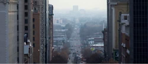 Steve Griffin  |  The Salt Lake Tribune  Haze blankets the Salt Lake valley in Salt Lake City, Tuesday, December 9, 2014.