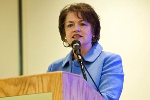 Chris Detrick  |  The Salt Lake Tribune  Utah Senator Margaret Dayton speaks on the topic of 'Saving Lives of the UnbornÖCan Utah do More?' during the Utah Eagle Forum annual convention at the Salt Lake Radisson Hotel Saturday January 12, 2013.