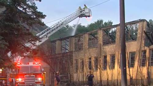 Courtesy  |  KUTV 2 News  An early Monday morning fire destroyed what was left of the historic Baron Woolen Mills building in Brigham City.