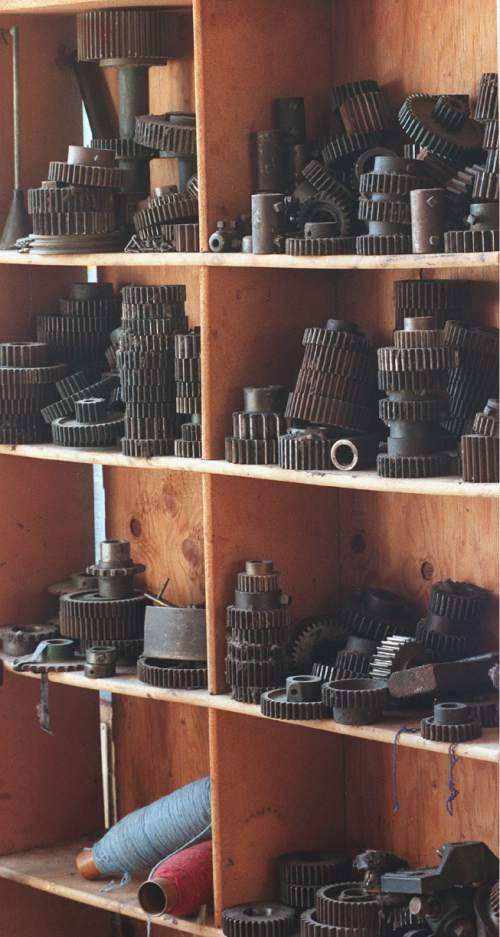 Paul Fraughton  |  Tribune File Photo  Shelves full of old gear parts at Baron Woolen Mills in Brigham City.   Sept. 25, 1999.