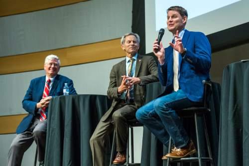 Chris Detrick     The Salt Lake Tribune Businessman Dave Robinson speaks during a Salt Lake City Mayoral Debate at Salt Lake City's Main Library Thursday July 16, 2015.