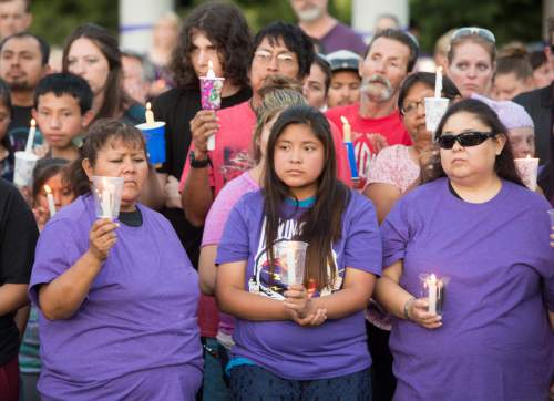Rick Egan  |  The Salt Lake Tribune  Friends and family of Kailey Vijil gather for a candle light vigil, in memory of the 12-year-old West Valley City girl who died earlier this week, Sunday, July 19, 2015.