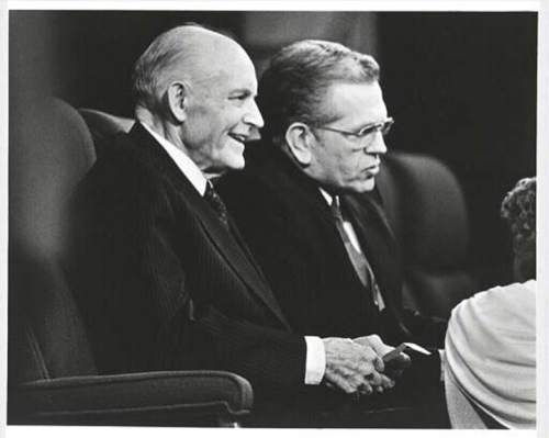 Courtesy  |  LDS Church  Elders Howard W. Hunter and Boyd K. Packer at general conference, 1980s.