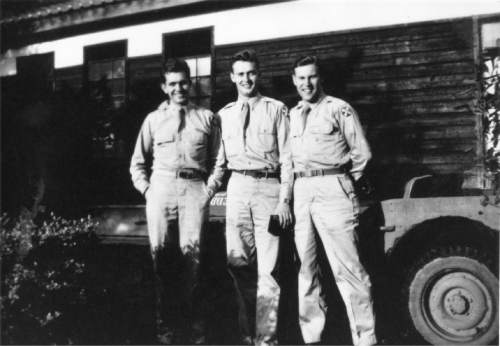 Courtesy  |  LDS Church  Boyd K. Packer with two other soldiers during World War II, 1945, Atsugi Air Base, Japan.