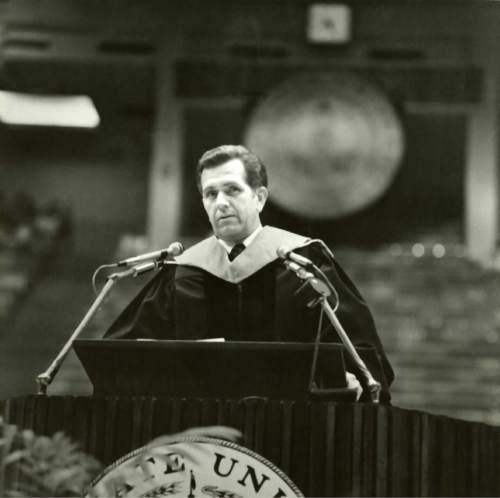 Courtesy  |  LDS Church  Elder Boyd K. Packer speaking at Utah State University, 1970s.