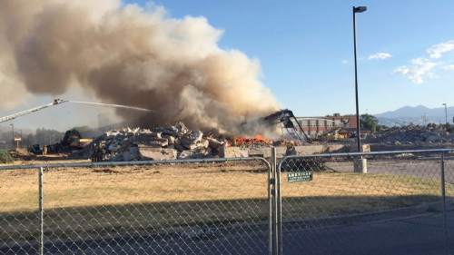 Courtesy  |  Ryan Painter  Firefighters were battling a blaze Saturday evening at the abandoned Midvale Middle School.