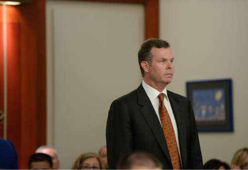 Francisco Kjolseth | The Salt Lake Tribune Former Utah Attorney General John Swallow appears at the Matheson Courthouse in Salt Lake City on Monday, July, 27, 2015. Swallow had his attorney, Steve McCaughey plead not guilty on his behalf to more than a dozen criminal charges of corruption.