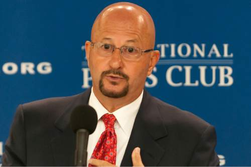 Noel St. John  |  Courtesy   Joseph P. Nacchio, the former chairman/CEO of Qwest Communications International discusses the futility of meaningful reform of the defense intelligence complex at a National Press Club Newsmakers press conference, July 29, 2015.