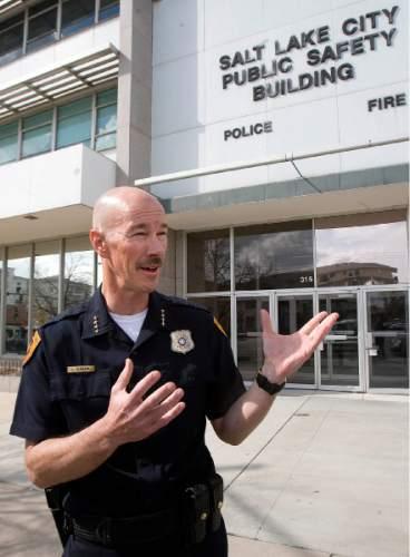 Paul Fraughton  |   Salt Lake Tribune  In the aftermath of the Boston Marathon explosions, Salt Lake Police Chief, Chris Burbank talks to the media about security at the upcoming Salt Lake City Marathon on Monday, April 15, 2013.