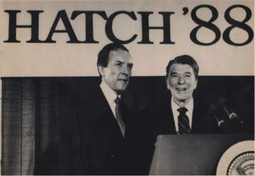 WASHINGTON, Une 17--SUPPORT FOR HATCH--President Reagan appears at a fundraiser for Sen. Orrin G. Hatch, R-Utah, Wednesday night in Washington. Reagan urged Utah's voters to support Hatch's bid for re-election next year. (AP Laser Photo - Ron Edmonds) 1987 - trib file photo