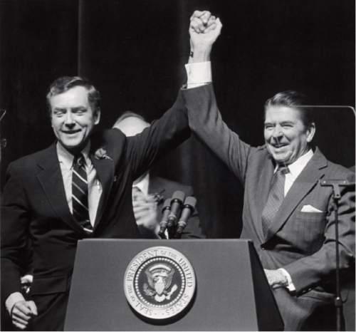 Tribune file photo  Sen. Orrin Hatch and Pres. Ronald Reagan in 1982.