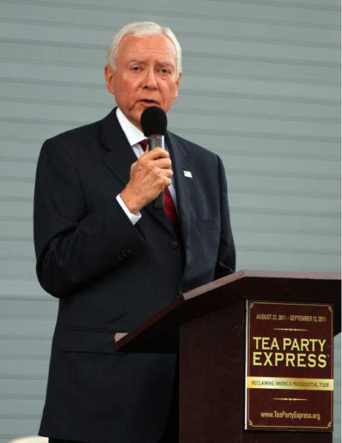 Sen. Orrin Hatch described his disappointment with the Obama administration during the Tea Party Express rally held in the Draper Amphitheatre Sunday evening with Tea Party leaders and Gov. Gary Herbert. Stephen Holt/Special to the Tribune