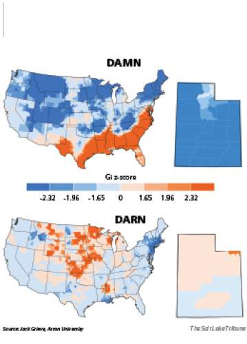 """The great Damn-Darn divide Using tweets, British linguist Jack Grieve has tracked profanity use down to the county level. As expected, Utah favors faux-swears such as """"darn"""" and """"crap."""""""