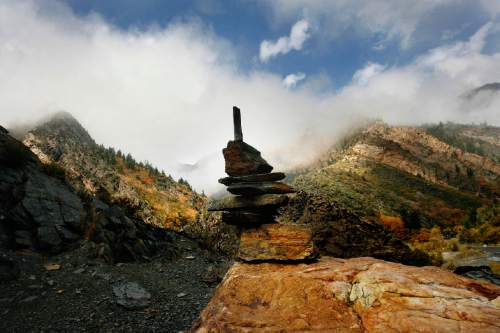 Scott Sommerdorf   |  The Salt Lake Tribune A cairn left behind by some intrepid climber or explorer at Storm Mountain, Sunday, October 12, 2013.