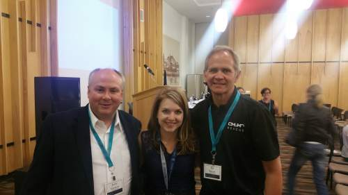 Courtesy photo  Lindsay Hansen Park, organizer of the annual Sunstone Symposium, is flanked by anti-sex trafficking activist Jerry Gowen, left, and Ed Smart, right, after their panel discussion Thursday night.