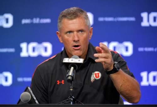 Utah head coach Kyle Whittingham speaks to reporters during NCAA college Pac-12 Football Media Days, Friday, July 31, 2015, in Burbank, Calif. (AP Photo/Mark J. Terrill)