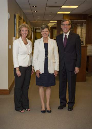 |  Courtesy Zions Bank  Cristie Richards  with Cokie Roberts and Scott Anderson. Roberts,  senior news analyst for National Public Radio, spoke Tuesday August 4, 2015 in Salt Lake City.