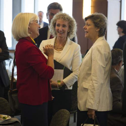 |  Courtesy Zions Bank  Pat Jones and Cristie Richards speak with Cokie Roberts. Roberts,  senior news analyst for National Public Radio, spoke Tuesday August 4, 2015 in Salt Lake City.