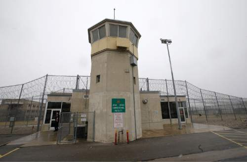 A watch tower is seen in front of the Wasatch facility during a media tour Thursday, Feb. 26, 2015, at the Utah State Correctional Facility in Draper. (AP Photo/Rick Bowmer, Pool)