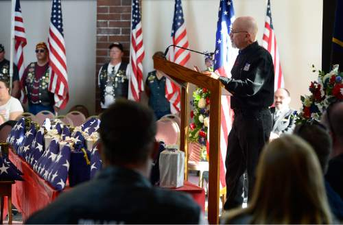 Scott Sommerdorf   |  The Salt Lake Tribune Roger Graves , coordinator of the Missing in America Project / Utah, speaks at a ceremony to honor 22 veterans whose remains have never been claimed. They were interred in a service at the state veterans cemetery in Bluffdale, Saturday, August 1, 2015.