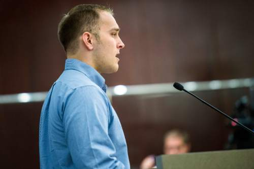 Chris Detrick  |  The Salt Lake Tribune Colton Hatch speaks during public comment at the Salt Lake County Government Center Tuesday August 4, 2015.