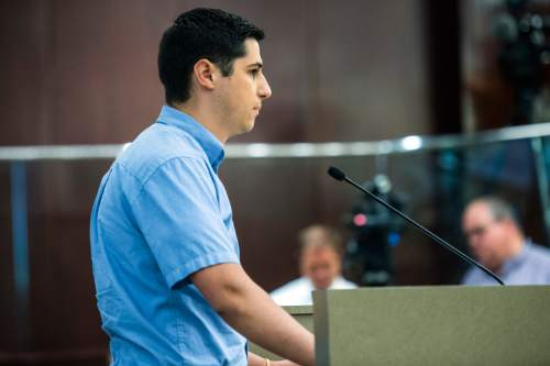 Chris Detrick  |  The Salt Lake Tribune Justin Anderson speaks during public comment at the Salt Lake County Government Center Tuesday August 4, 2015.