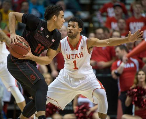 Rick Egan  |  The Salt Lake Tribune  Utah Utes guard Isaiah Wright (1) defends against Stanford Cardinal guard/forward Dorian Pickens (11)  in Pac-12 Basketball Championship action Utah vs. Stanford, at the MGM Arena, in Las Vegas, Thursday, March 12, 2015.