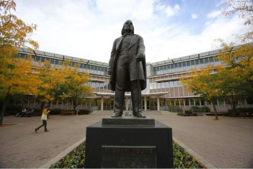 Francisco Kjolseth  |  Tribune file photo  The statue of Brigham Young at BYU is seen in this photo from September 2013.