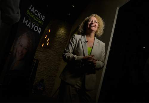 Leah Hogsten  |  The Salt Lake Tribune Jackie Biskupski and campaign supporters celebrate the primary win, August 11, 2015 at Stoneground Kitchen. Former state legislator Jackie Biskupski and Salt Lake City Mayor Ralph Becker won Tuesday's primary race for the mayor's seat and will face off in the Nov. 3 general election.