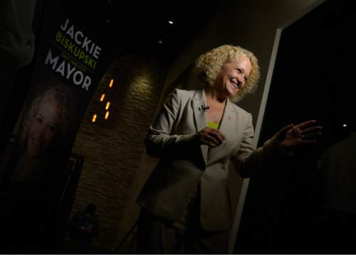 Leah Hogsten  |  The Salt Lake Tribune Jackie Biskupski giggles with campaign supporters while celebrating the primary win, August 11, 2015 at Stoneground Kitchen. Former state legislator Jackie Biskupski and Salt Lake City Mayor Ralph Becker won Tuesday's primary race for the mayor's seat and will face off in the Nov. 3 general election.