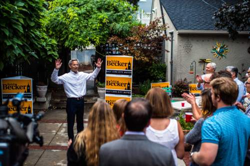Chris Detrick  |  The Salt Lake Tribune Salt Lake City Mayor Ralph Becker talks to friends and supporters at his home in Salt Lake City Tuesday August 11, 2015.