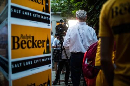 Chris Detrick  |  The Salt Lake Tribune Salt Lake City Mayor Ralph Becker talks to members of the media at his home in Salt Lake City Tuesday August 11, 2015.