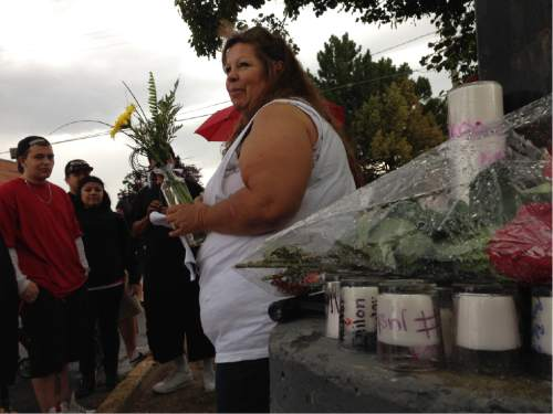 Erin Alberty  |  The Salt Lake Tribune   Gina Thayne greets mourners at a memorial for her nephew, Dillon Taylor. Taylor, 20,  was shot to death by a Salt Lake City police officer one year ago Tuesday near a 7-Eleven at 2100 S. State St.