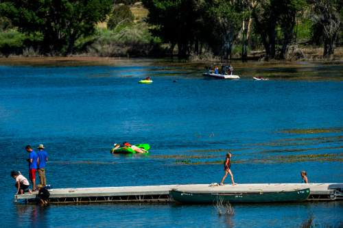 Chris Detrick     The Salt Lake Tribune Campers fish, swim, boat and tube in Wide Hollow Reservoir in Escalante Thursday July 30, 2015.
