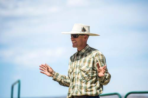 Chris Detrick     The Salt Lake Tribune Dave Treanor talks about his horses in Escalante Wednesday July 29, 2015.  Erin and Dave Treanor own Rising DT Ranch Horse Tours and provide horseback tours around the Grand Staircase National Monument.