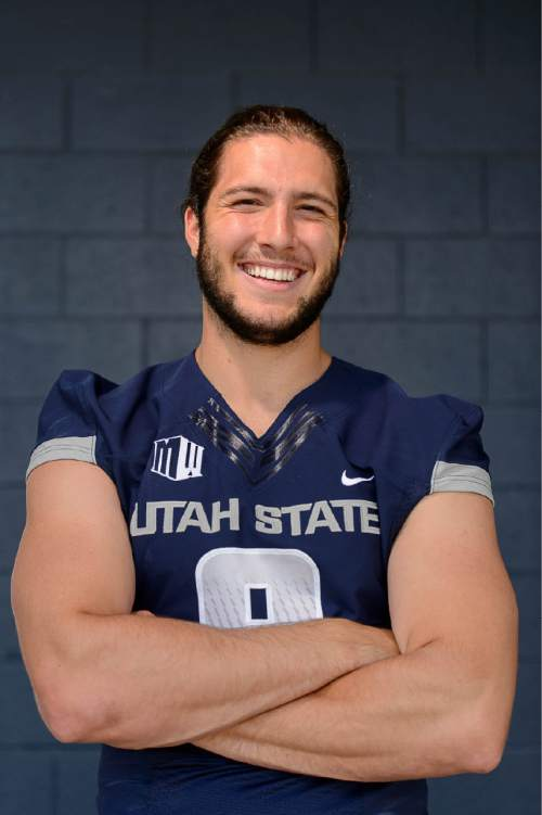 Trent Nelson  |  The Salt Lake Tribune Utah State football player Kyler Fackrell, in Logan, Thursday August 6, 2015.