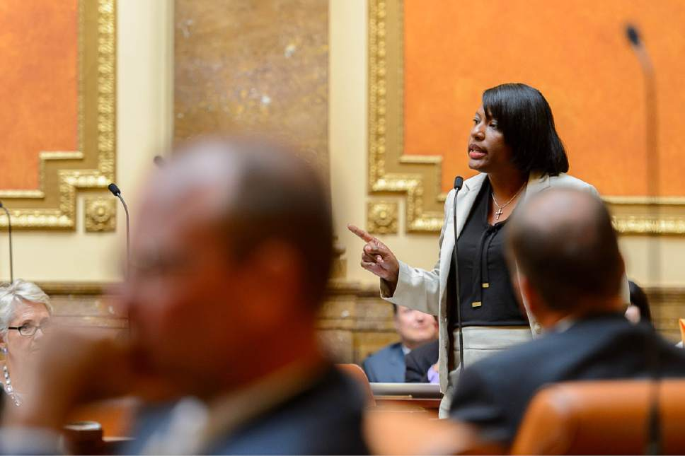 Trent Nelson  |  The Salt Lake Tribune Rep. Sandra Hollins, D-Salt Lake City, speaks as the Utah House debates the Prison Relocation Commission's recommendation to build a new correctional facility in Salt Lake City before voting to approve it, in Salt Lake City, Wednesday August 19, 2015.