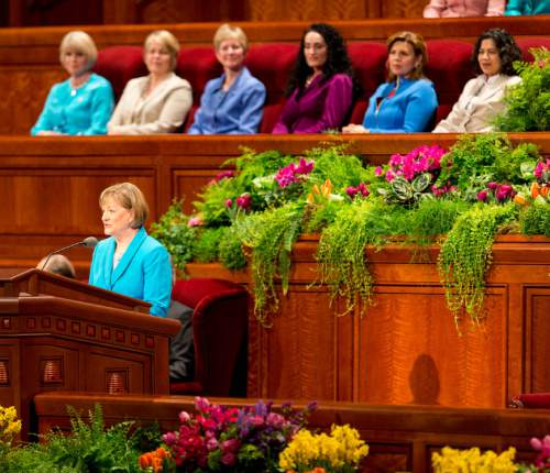 Trent Nelson  |  The Salt Lake Tribune Young Women General President Bonnie Oscarson speaks at the LDS General Women's Meeting at the Conference Center in Salt Lake City, Saturday March 29, 2014. For the first time ever for Young Women and Relief Society and Primary will meet altogether, with every LDS female 8 and up invited.