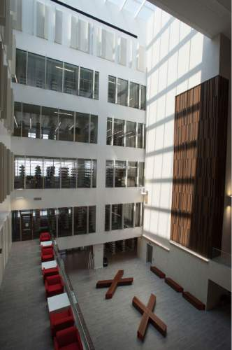 Steve Griffin  |  The Salt Lake Tribune  The University of Utah will celebrate the grand opening of its new $62.5 million College of Law building next week. View from the third floor of the inside of the building on the campus of he University of Utah in Salt Lake City, Friday, August 21, 2015.