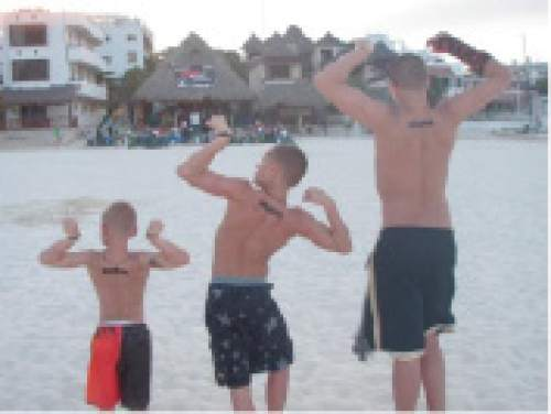 |  Courtesy Mikki Kane-Barton  The Barton brothers (from the left, Lander, Cody and Jackson) pose on a family vacation at Playa del Carmen in Mexico. The eldest brothers, Cody and Jackson, are now freshmen on the Utah football team.