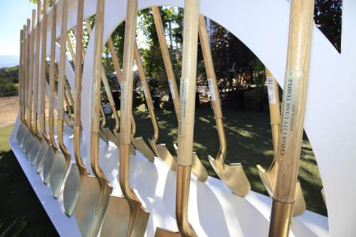 Courtesy | Intellectual Reserve, Inc.  Ceremonial shovels wait to be used in the groundbreaking of the new Cedar City Utah Temple on Saturday, Aug. 8, 2015.