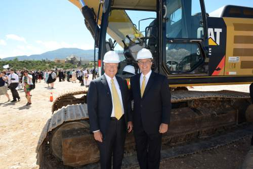 Courtesy | Intellectual Reserve, Inc.  Executive director of the Mormon Church's Temple Department stands beside Elder L. Whitney Clayton of the Presidency of the Seventy at the groundbreaking of the new Cedar City Utah Temple on Saturday, Aug. 8, 2015.