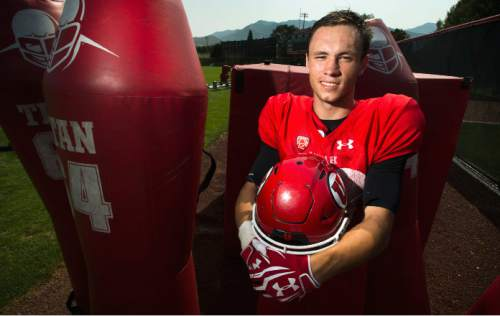 Steve Griffin  |  The Salt Lake Tribune  Timpview High School football standout and now University of Utah freshman Britain Covey following practice at the University of Utah baseball field in Salt Lake City, Friday, August 21, 2015.  l