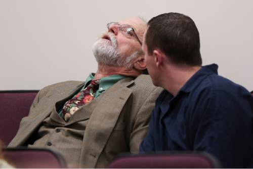 (Spenser Heaps  |  Pool) Defense attorney Ron Yengich sits in the jury box with his client Conrad Truman before Truman's sentencing at 4th District Court in Provo on Monday, Feb. 9, 2015. Truman was sentenced to consecutive sentences of 15 years to life for murder and one to 15 years for obstruction of justice in the 2012 shooting death of his wife Heidy Truman.