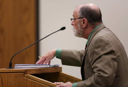 (Spenser Heaps  |  Pool) Defense attorney Ron Yengich speaks at Conrad Truman's sentencing at 4th District Court in Provo on Monday, Feb. 9, 2015. Truman was sentenced to consecutive sentences of 15 years to life for murder and one to 15 years for obstruction of justice in the 2012 shooting death of his wife Heidy Truman.