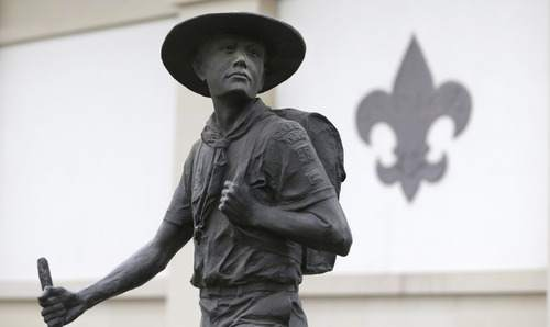 LM Otero  |  AP file photo A statue of a Boy Scout stands in front of the National Scouting Museum in Irving, Texas.