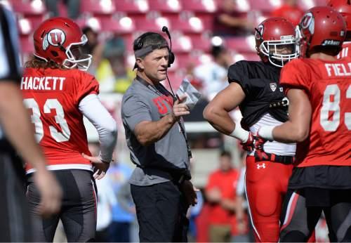 Scott Sommerdorf   |  The Salt Lake Tribune Utah head coach Kyle Whittingham during University of Utah Spring scrimmage at Rice-Eccles Stadium, Saturday, April 11, 2015.