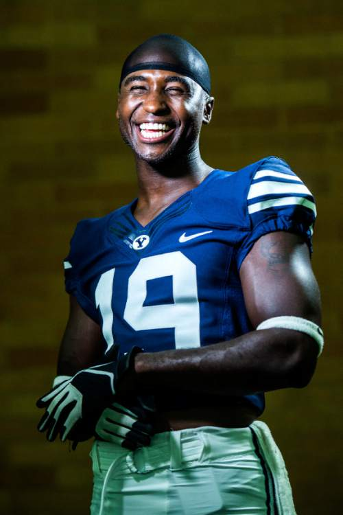 Chris Detrick  |  The Salt Lake Tribune Brigham Young Cougars wide receiver Devon Blackmon (19) poses for a portrait Wednesday August 12, 2015.